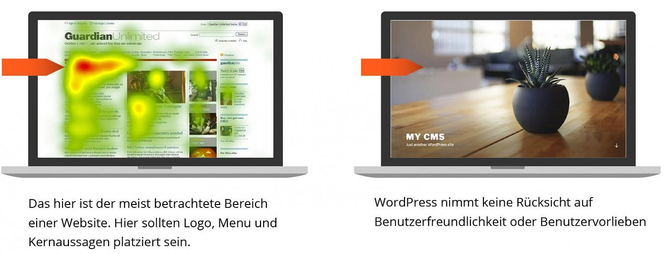 WordPress Templates ignorieren Benutzfreundlichkeit und Benutzerführung